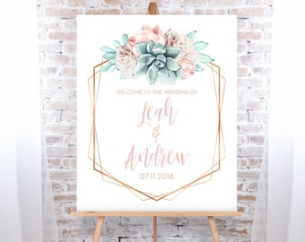 Succulent Wedding Welcome Sign / Blush Flower Succulent Bouquet Faux Metallic Copper Watercolor Cactus ▷Printed Paper, Canvas {or} Printable