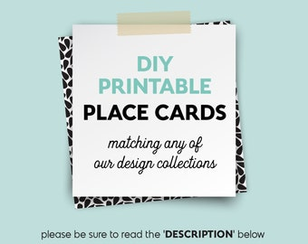 DIY PRINTABLE Custom Wedding Place Cards / Guest Name Card, Tent Card, Food Card, Food Label ▷ Matching any of the collections in my shop