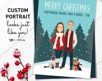 Couple Portrait Christmas Cards, Personalized Holiday Cards with Cat Portrait, Custom Family Portrait Printed Holiday Card 5x7