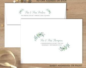 Greenery Envelopes with Guest & Return Address Printing / Eucalyptus Crest / Initial Monogram Crest, Leaves ▷ INVITE {or} RSVP Envelopes