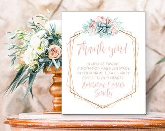 Succulent Thank You Sign / Charity Donation / Blush Flower Succulent Bouquet Faux Metallic Copper Cactus ▷Printed Paper, Canvas or Printable