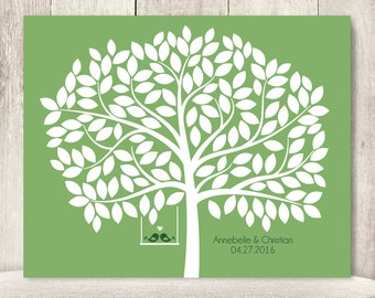 "Wedding Guest Book Alternative Poster DIY // Guest Tree on Bright Grass Green, Love Birds // Printable PDF // ""Leaving Wishes"" ▷ 150 Leaves"