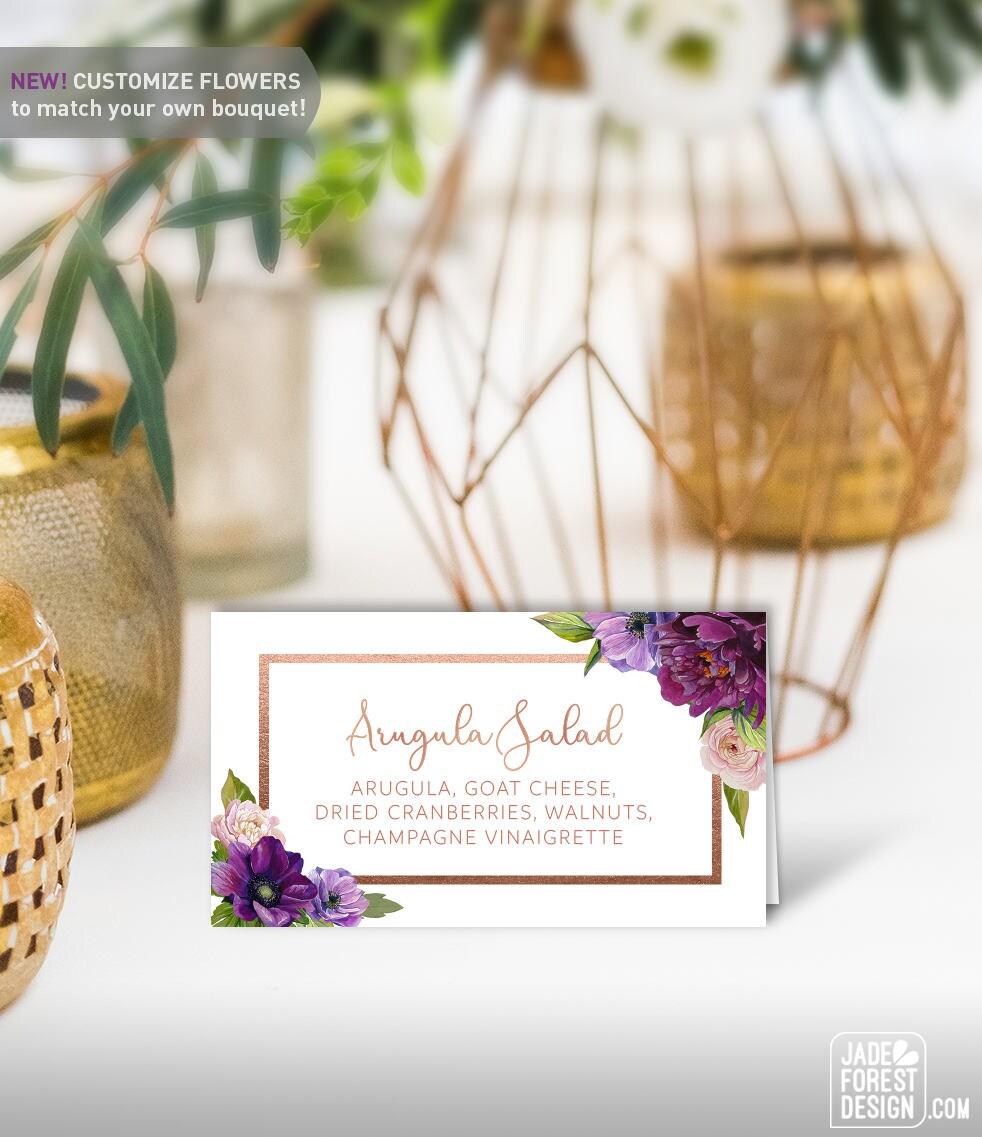 Blush Floral Reception Flat /& Folded DIY PDF Template Instant Download VRD156LJR Rose Gold Place Card Wedding Printable and Escort Cards
