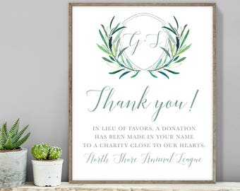 Greenery Thank You Sign / In Lieu Charity Donation / Eucalyptus Crest / Initial Monogram, Eucalyptus ▷ Printable File {or} Printed & Shipped