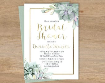 Succulent Bridal Shower Invitation / Greenery and Gold Geometric / Green Cactus and Gold Calligraphy  ▷ Printed Heavy Paper {or} Printable