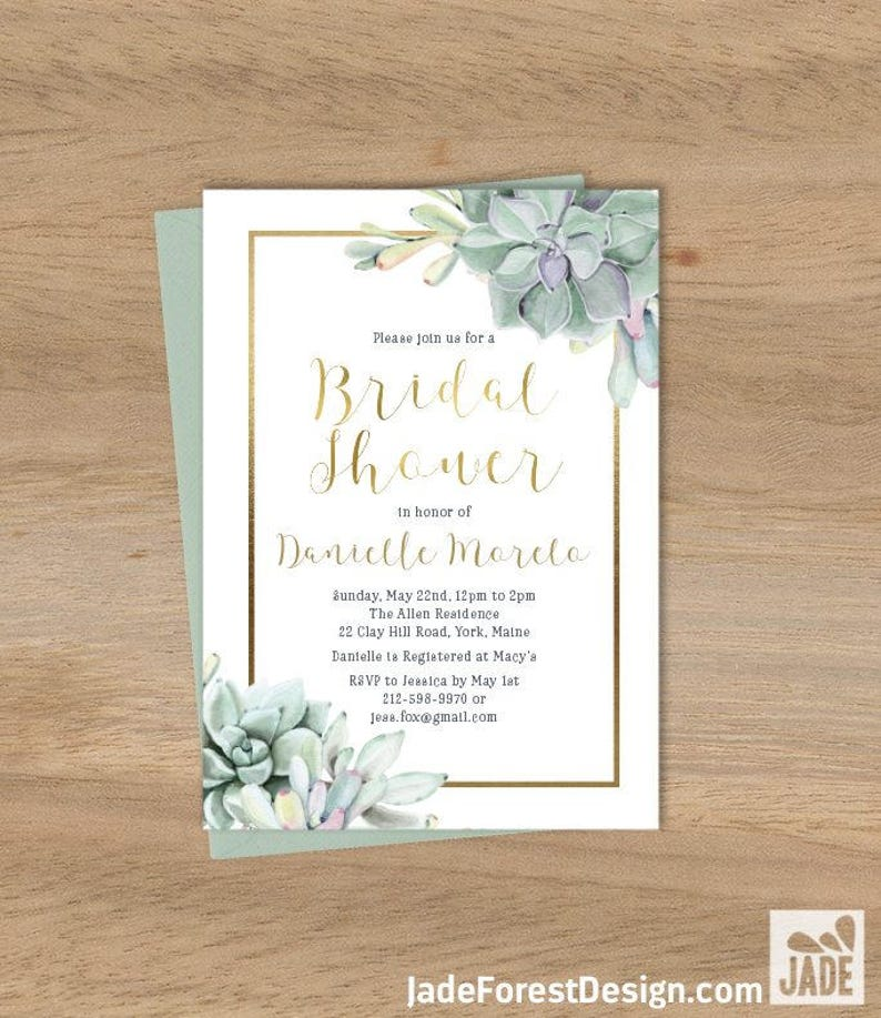 4790a60627050b Succulent Bridal Shower Invitation   Greenery and Gold