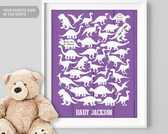 Purple Baby Shower Guest Book Alternative / Purple Dino, T rex, Raptor Guest Book / Dinosaur Baby Shower ▷ Canvas, Paper {or} Printable