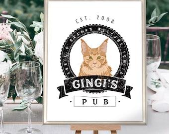 Pet Bar Sign for Wedding > Custom Cat Portrait for Wedding Bar Menu Sign, Distressed Rustic Print