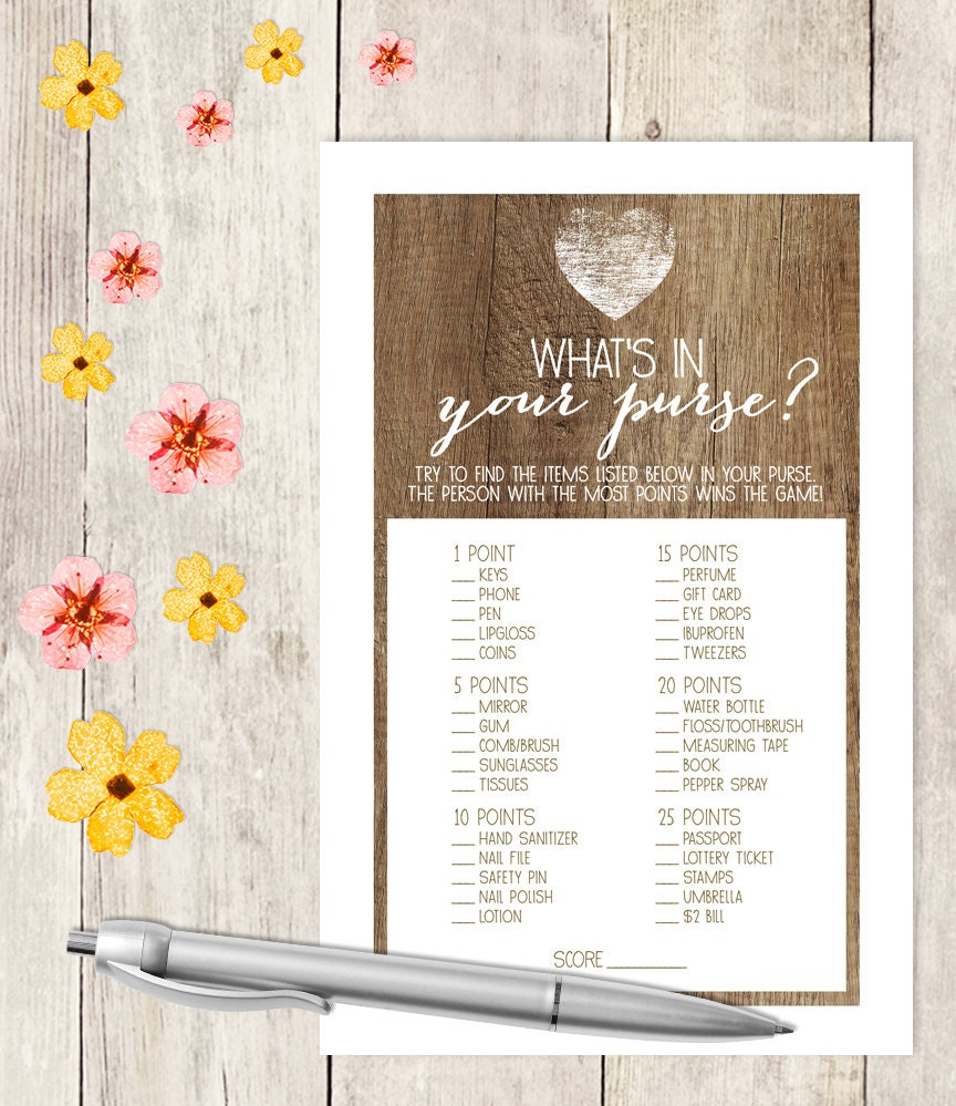 graphic regarding What's in Your Purse Printable known as Rustic Bridal Shower Activity Do-it-yourself / Rustic Picket, Middle / Whats