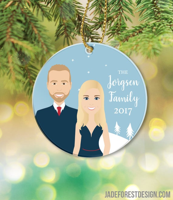 Holiday Ornament Portrait for newly married couples