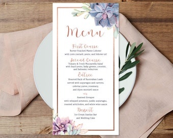 Succulent Menu Card / Wedding Menu / Greenery and Rose Gold Geometric, Cactus and Copper Calligraphy ▷ Printable File {or} Printed & Shipped