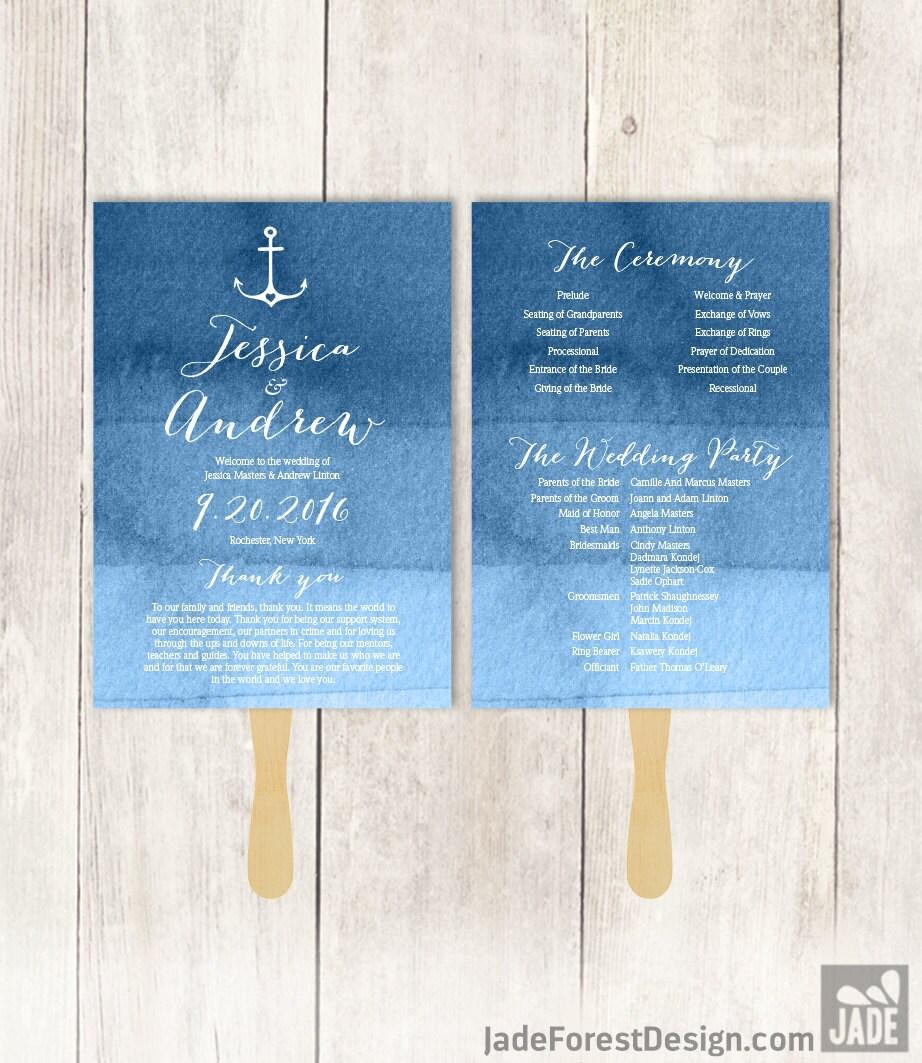 nautical wedding program diy heart anchor calligraphy navy