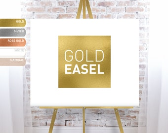 Gold Easel for Wedding, Floor Easel Stand for Wedding Sign, Solid Wood Easle - FREE SHIPPING!