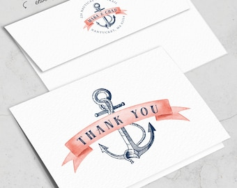 Nautical Thank You Card, Coral Navy Blue Thank Yous for Beach Destination Wedding, Folded PRINTED THANK YOU or printable cards