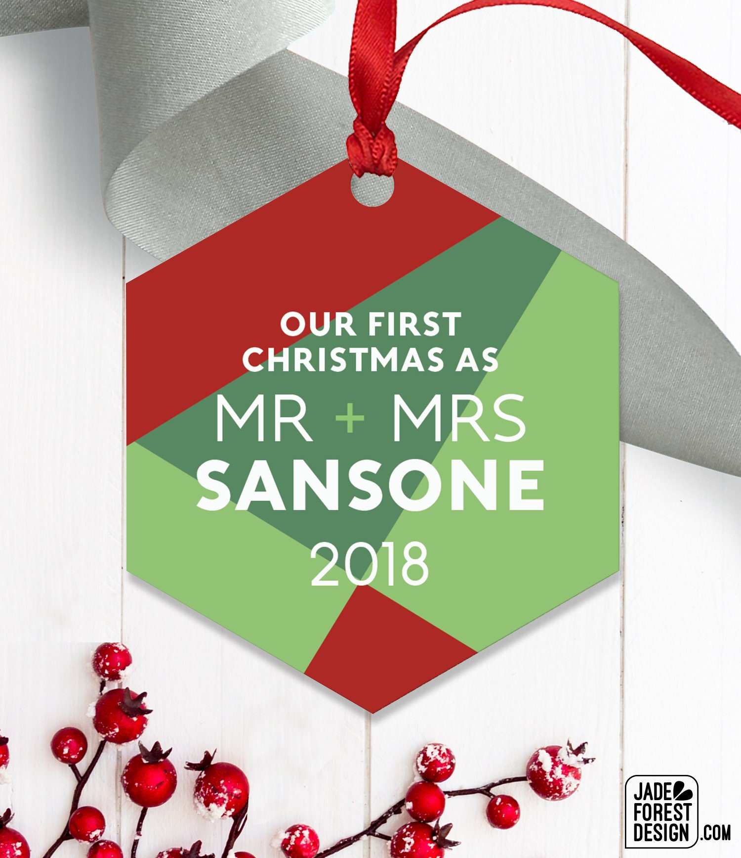 First Married Christmas as Mr and Mrs, Geometric Ornament, Modern ...
