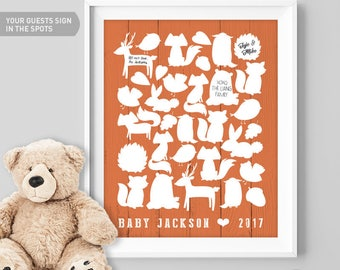 Woodland, Baby Shower, Guest Book, Printable, Guest Book Sign, Canvas Guest Book, Custom Guest Book, Guestbook, Fall Baby Shower, Gift Idea
