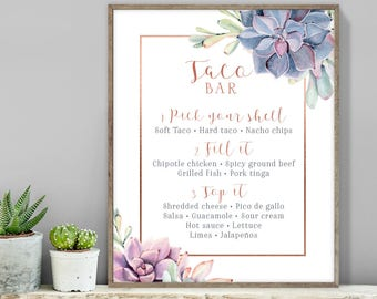 Succulent  Taco Bar Sign / Tacos Sign / Greenery and Rose Gold Geometric / Cactus and Copper ▷ Printable File {or} Printed & Shipped