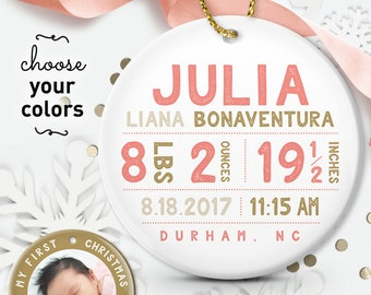 Baby Girl Ornament, My First Christmas Ornament, New Baby Gift Personalized with Photo, Coral and Gold Christmas Gift