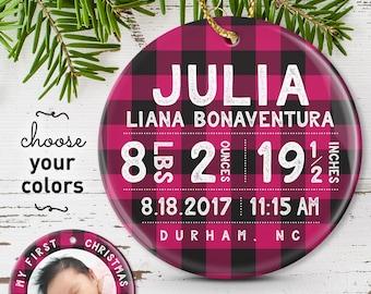 Baby Girl Christmas Ornament, Buffalo Plaid Baby Ornament, Personalized Baby Stats, Pink Plaid Baby Girl Gift under 50