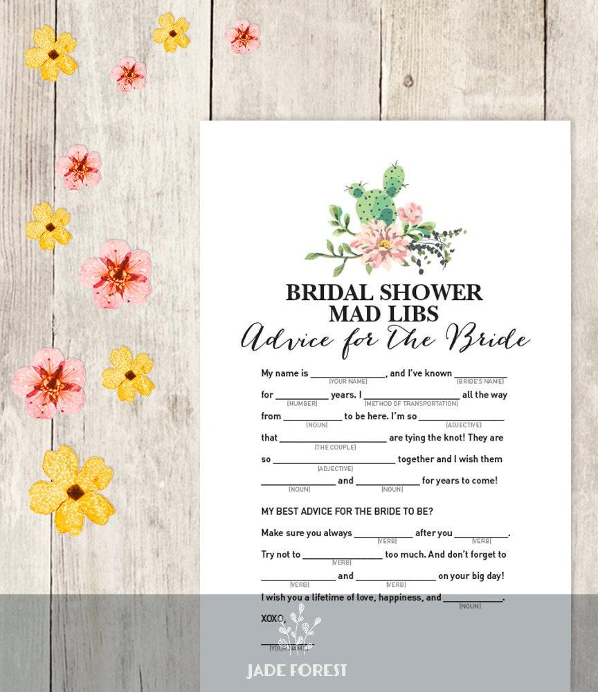 floral bridal shower game diy pink flower cactus fiesta mad libs printable advice for the bride wedding shower instant download
