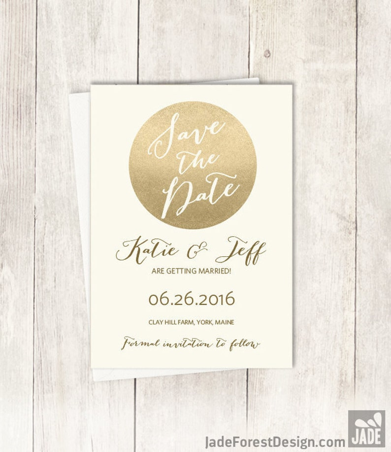 Gold Save The Date  Metallic Gold and Cream  Champagne Gold \u25b7 Printed Wedding Invitations {or} Printable