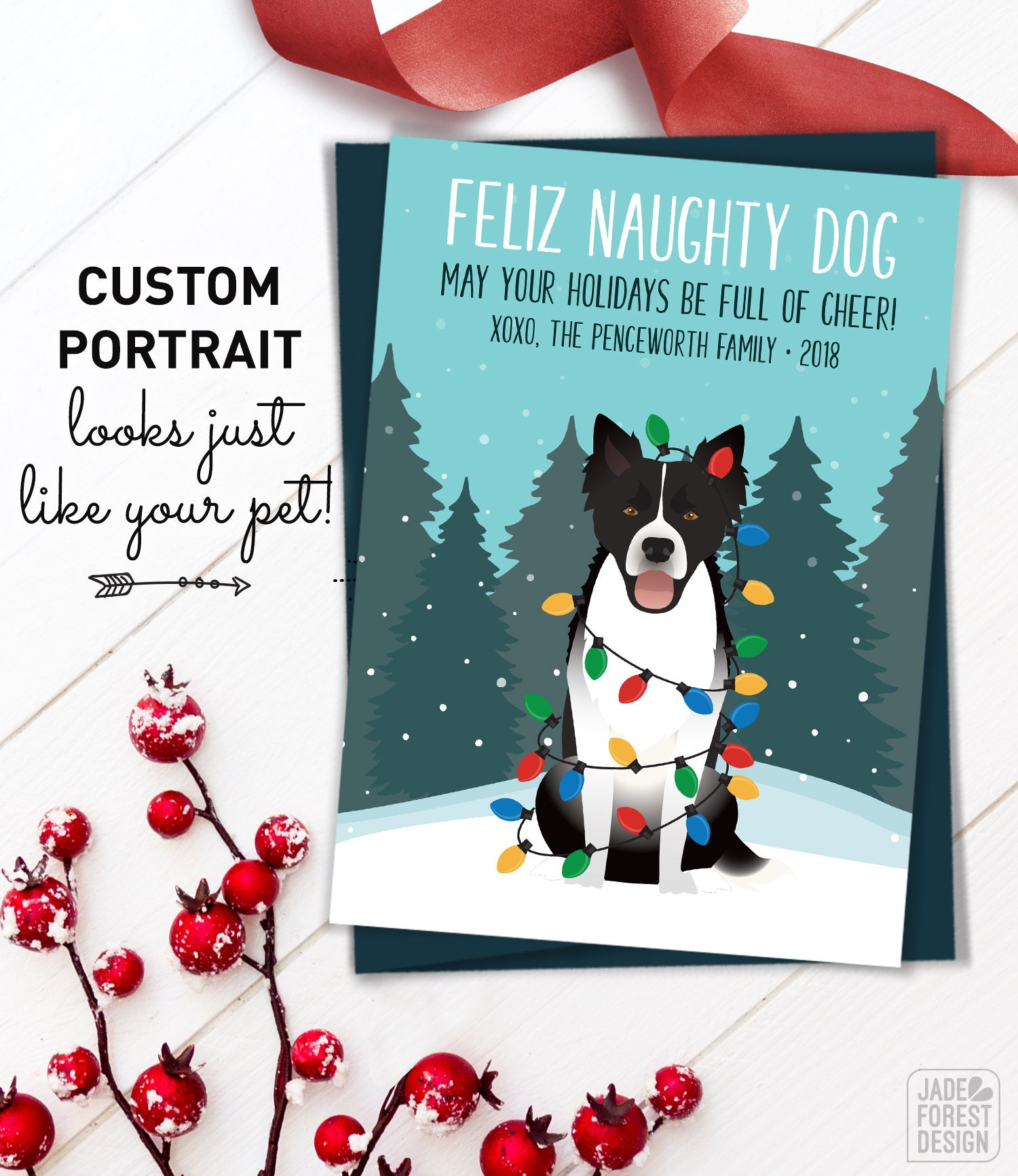 Husky Christmas Card, Unique Holiday Cards with Custom Pet Portrait ...