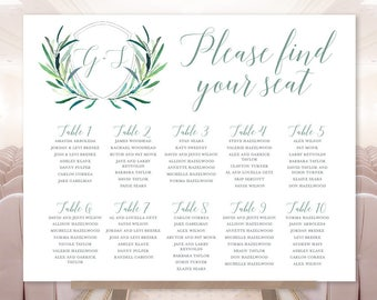 Greenery Wedding Seating Chart Sign / Eucalyptus Crest / Initial Monogram Crest, Eucalyptus Leaves ▷ Printable File {or} Printed & Shipped