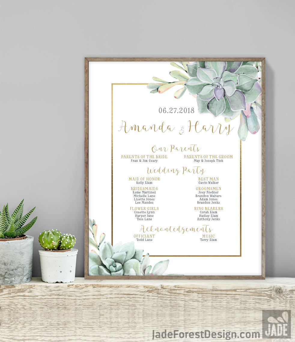 Succulent Wedding Welcome Sign Bridal Party Sign Greenery And Rose Gold Cactus And Copper Printable File Or Printed Shipped