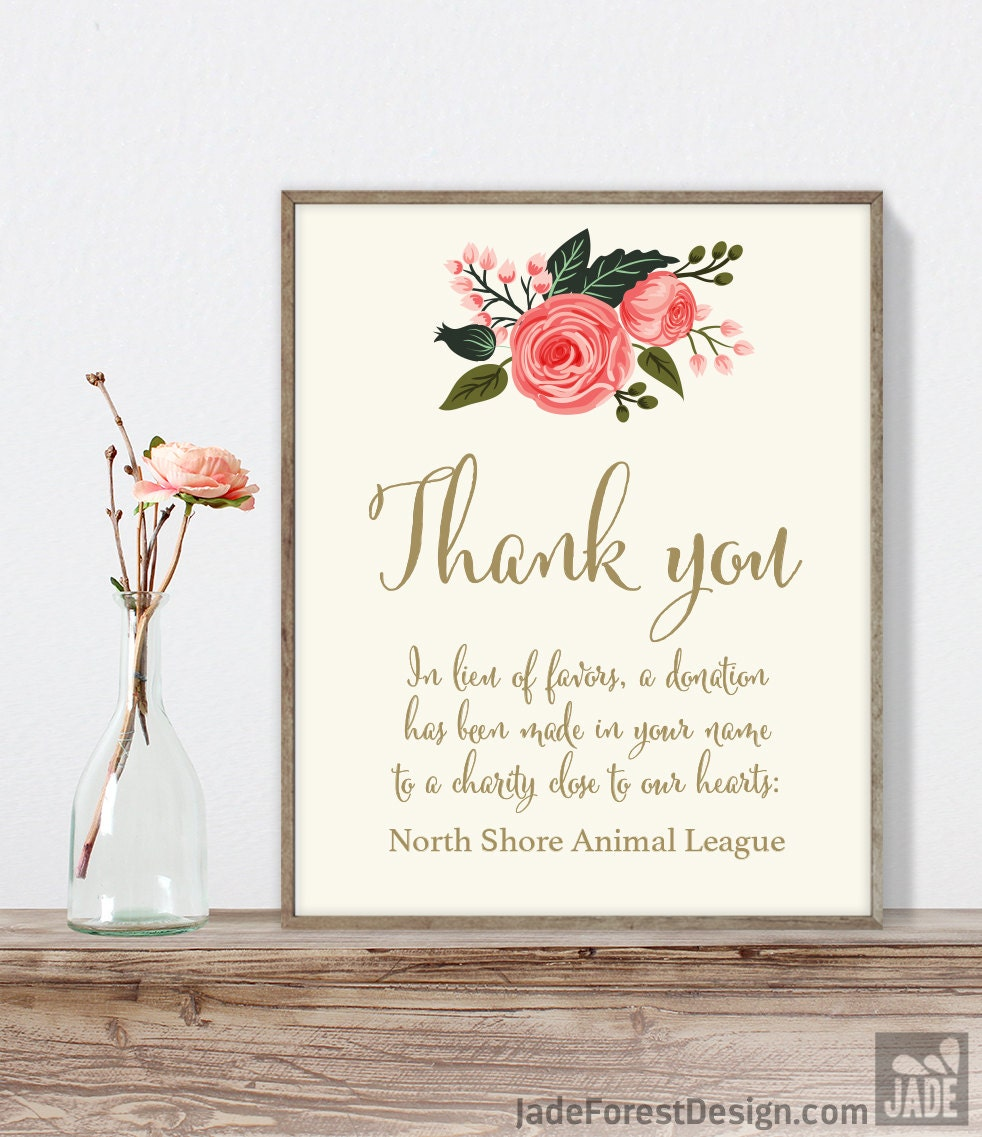 Wedding Thank You Sign / In Lieu of Favors, Charity Donation ...
