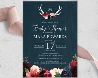 Rustic Baby Shower Invitation, Burgundy Navy Boho Shower Invite, Marsala Blush Flowers and Antlers, PRINTED INVITATION or printable invite