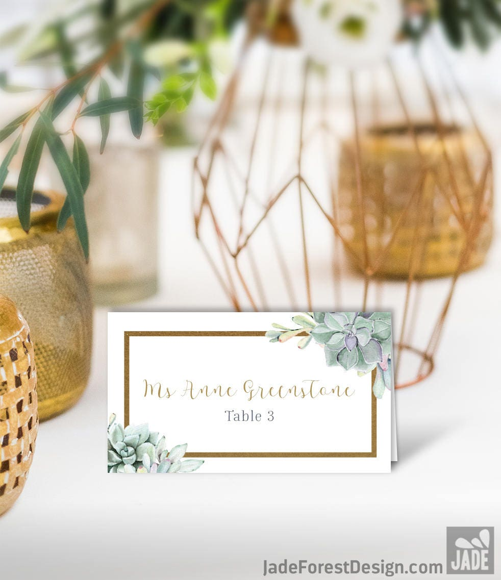Succulent Place Cards Greenery An Gold Geometric Wedding Seating Cards Green Cactus Escort Cards Folded Tent Card Printed Place Cards