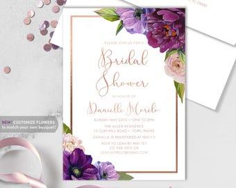 Purple Bridal Shower Invitation / Purple Flowers, Anemone, Peony, Ranunculus, Rose Gold / Fall Wedding ▷ Printed Heavy Paper {or} Printable
