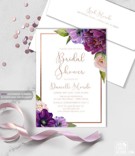 Purple Bridal Shower Invitation / Purple Flowers Anemone