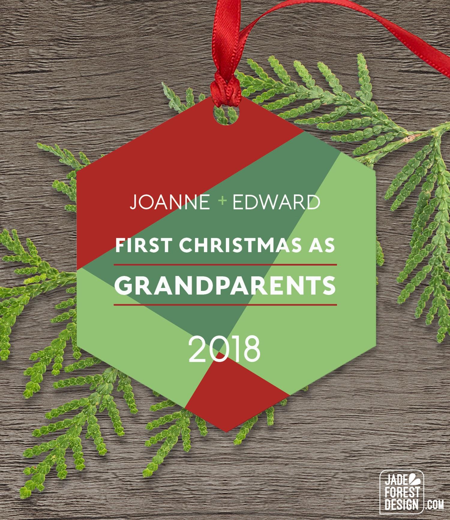 New Grandparents Ornament, Modern Geometric Christmas Decor, New ...