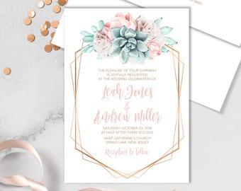 Succulent Wedding Invitation / Blush Flower Succulent Bouquet Faux Metallic Copper Watercolor Cactus ▷Printed Invitation or Printable Invite
