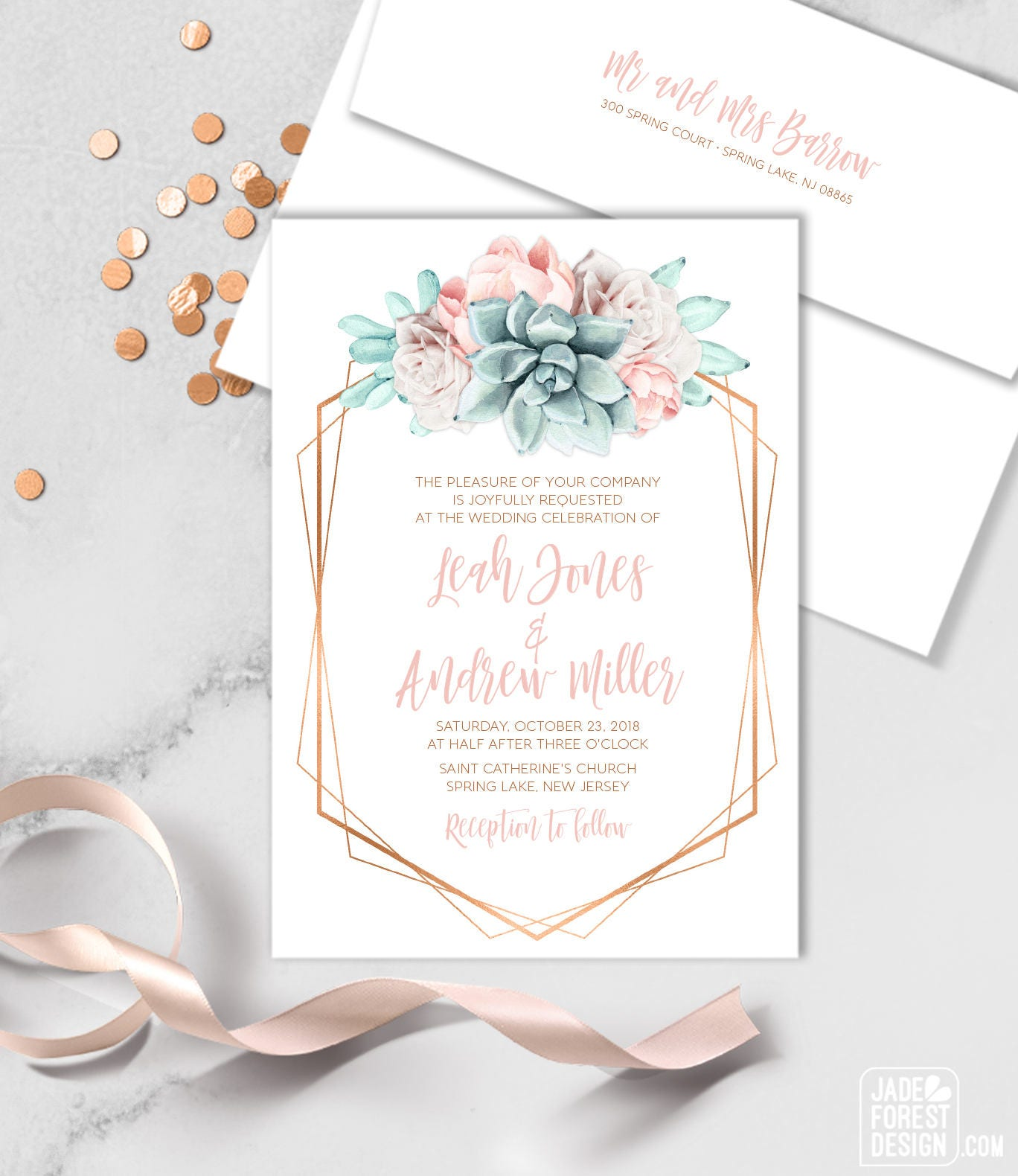 Succulent Wedding Invitation / Blush Flower Succulent Bouquet Faux ...