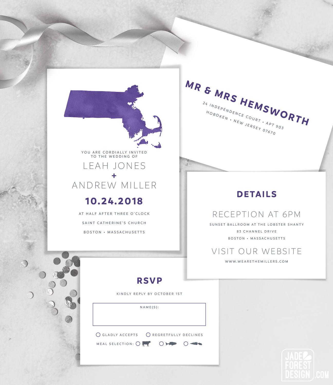 Ultra Violet Wedding Invitation Set Purple Watercolor Map
