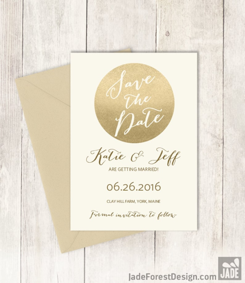 Gold Sparkle Save The Date  Metallic Gold and Navy  Champagne Gold \u25b7 Printed Wedding Invitations {or} Printable