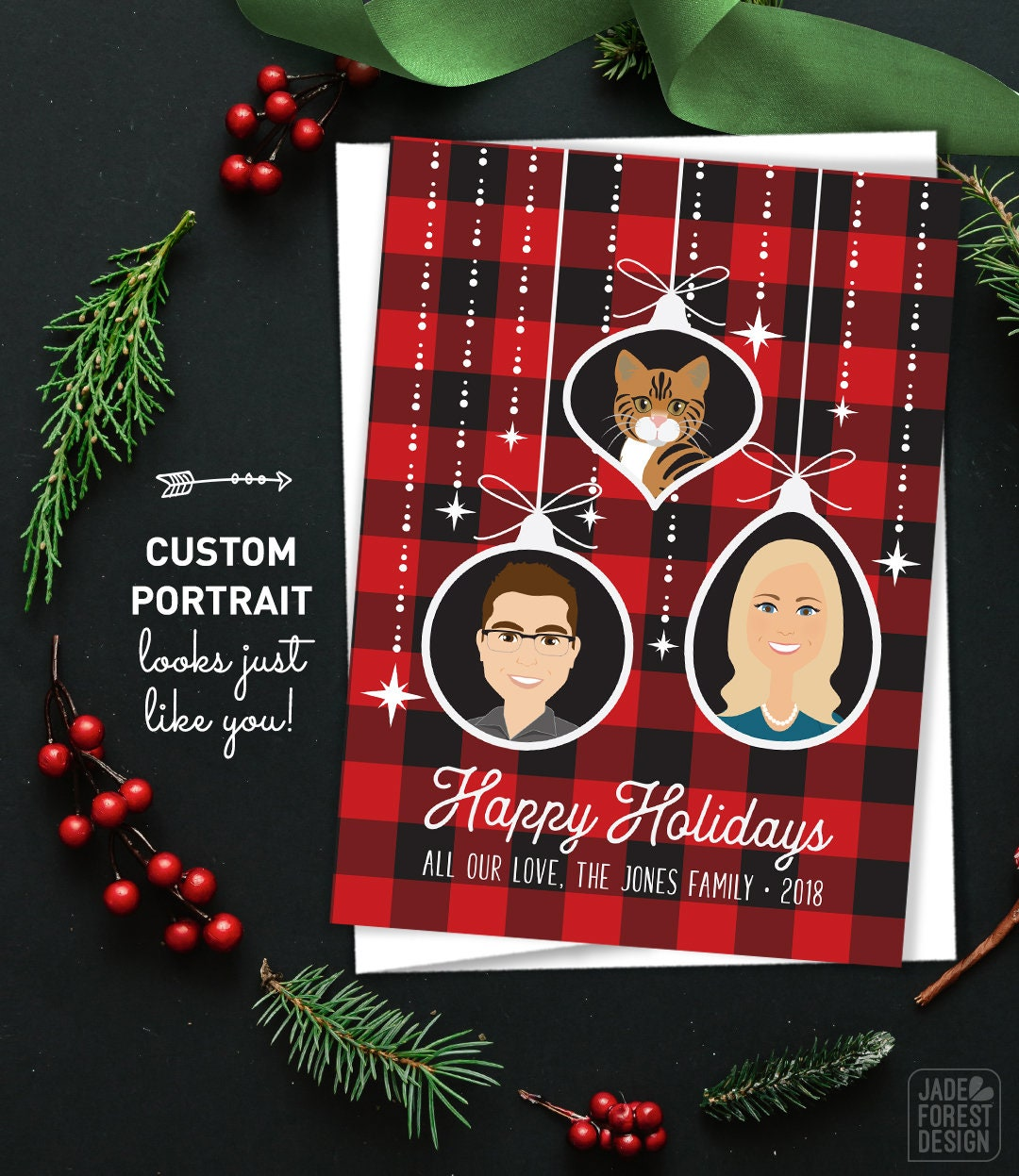 Custom Portrait Holiday Cards Buffalo Plaid Christmas Cards Custom