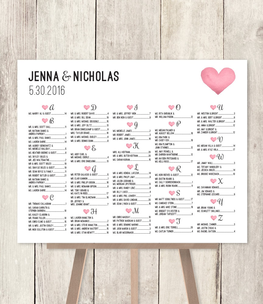 Alphabetical Seating Chart Sign DIY / Wedding Seating Chart / Pink ...