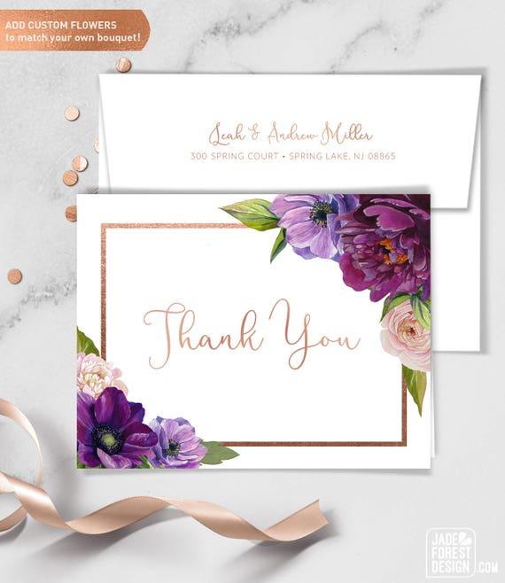 Purple Thank You Card Purple Flowers Anemone Peony Etsy