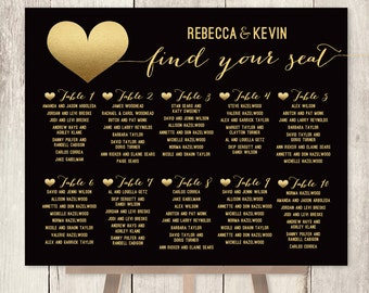 Elegant Wedding Seating Chart / Art Deco Poster / Gold and Black / Faux Metallic Gold Foil / Custom ▷ Printable File {or} Printed & Shipped