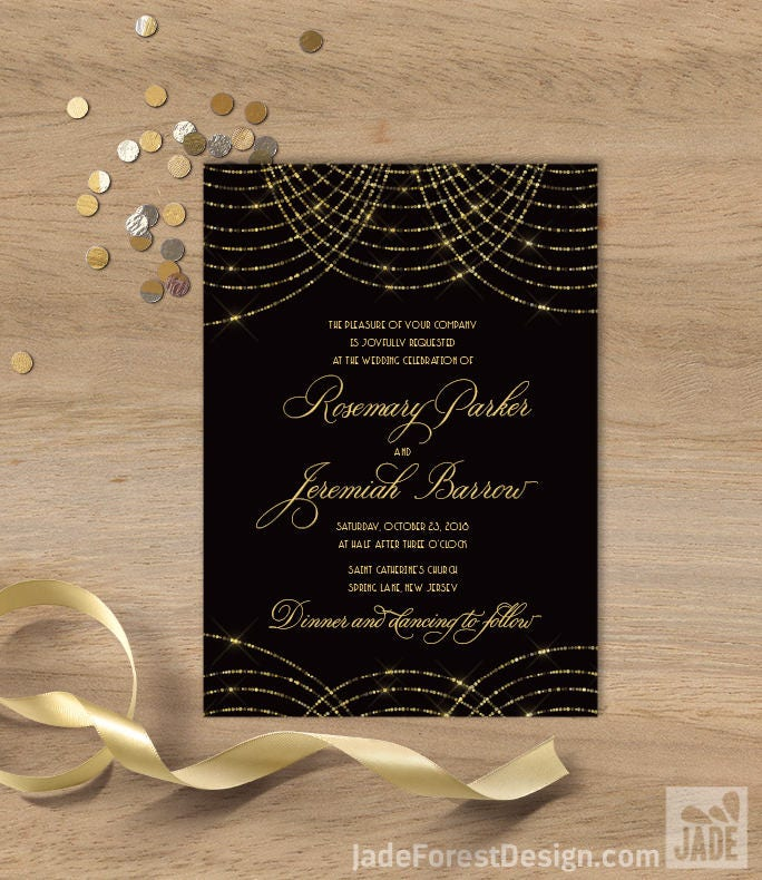 Great gatsby wedding invitation bokeh gold fairy lights black and great gatsby wedding invitation bokeh gold fairy lights black and gold art deco wedding invite printed invitations or printable stopboris Image collections