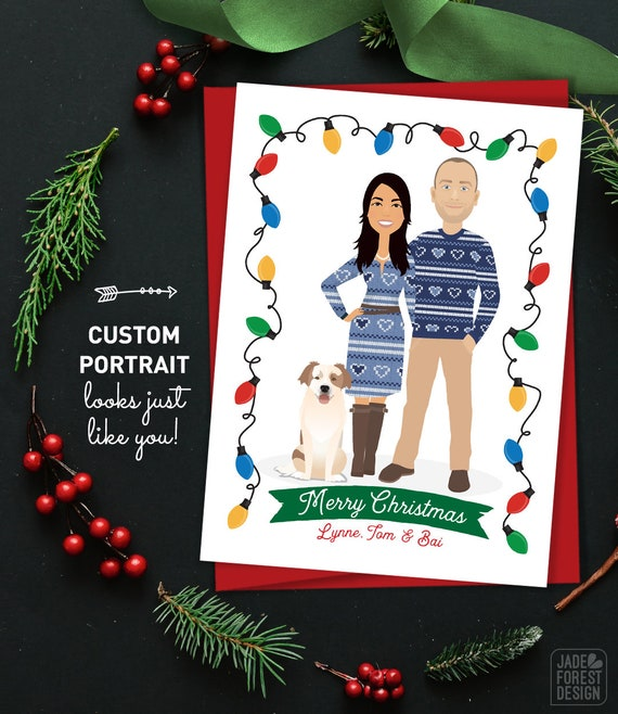 Funny Christmas Card Custom Couple Portrait In Ugly Sweater