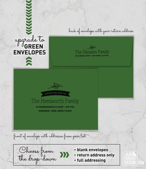 Addressed Christmas Cards.Green Envelopes For Holiday Cards Addressed Envelopes