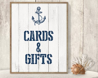 Wedding Cards & Gifts Sign // Card Table, Gift Table Sign DIY // Nautical Sign, Anchor Printable PDF // Nautical Planks ▷ Instant Download