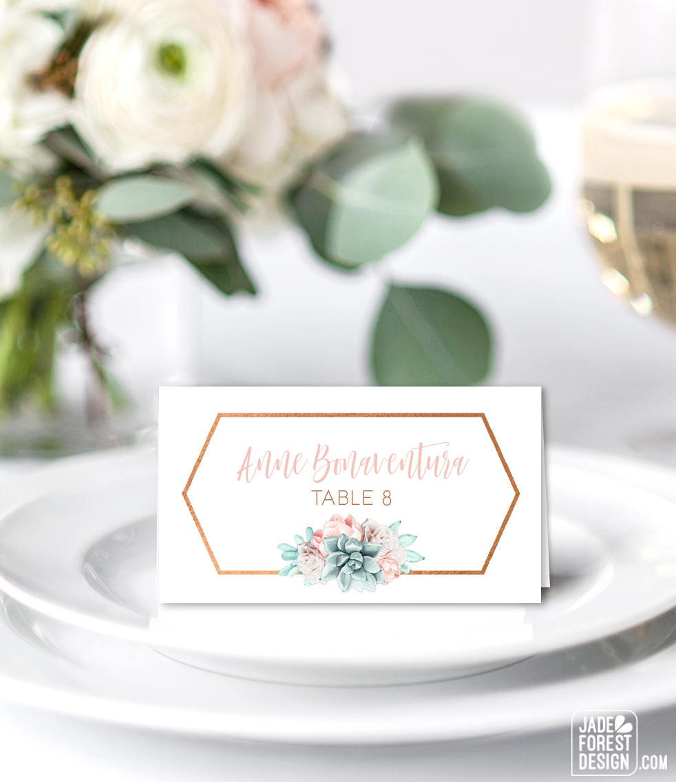 Copper Succulent Place Cards Blush Flower Wedding Seating Cards Southwestern Cactus Escort Cards Folded Tent Card Printed Place Cards