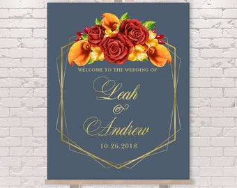 Fall Wedding Welcome Sign / Red Rose Flower, Orange Calla Lilly, Floral Invitation, Gold Geometric ▷ Printed Paper, Canvas {or} Printable