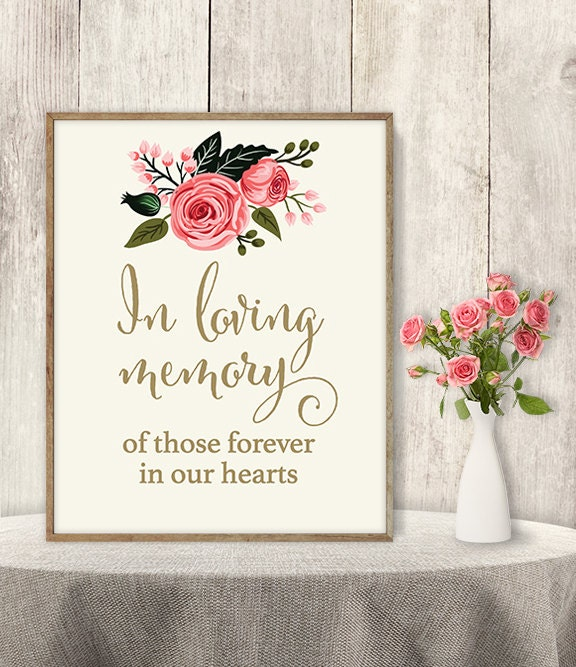 image regarding In Loving Memory Free Printable named In just Loving Memory Indicator / Marriage Memorial Desk Signal Do it yourself