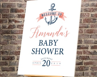 Nautical Baby Shower Sign, Coral Navy Blue Baby Shower Welcome Canvas Print > PRINTED Sign for Baby Shower {or} Printable Sign